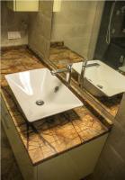 Столешница в ванную из мрамора Бидасар Браун