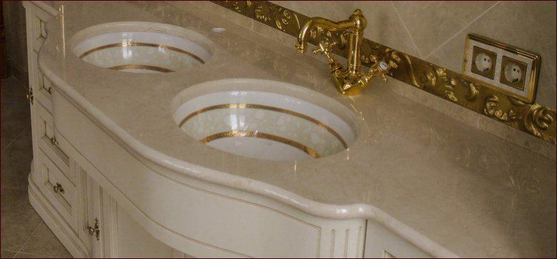 Столешница для ванной с вырезом